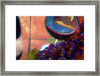 Italian Tile And Fine Wine Framed Print by Lisa Kaiser