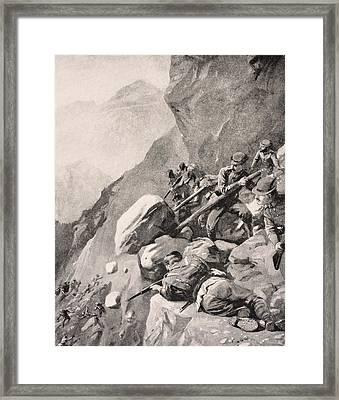 Italian Troops Levering Boulders Down Framed Print by Vintage Design Pics