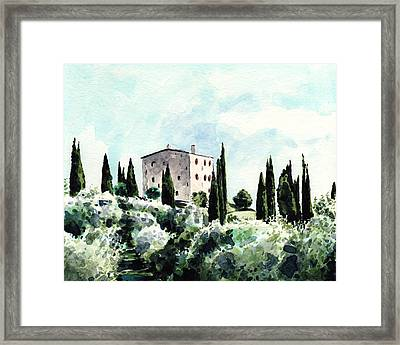 Italian Villa Sundrenched Landscape In Tuscany Framed Print by Laura Row