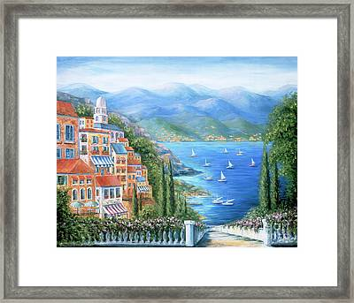 Italian Village By The Sea Framed Print by Marilyn Dunlap