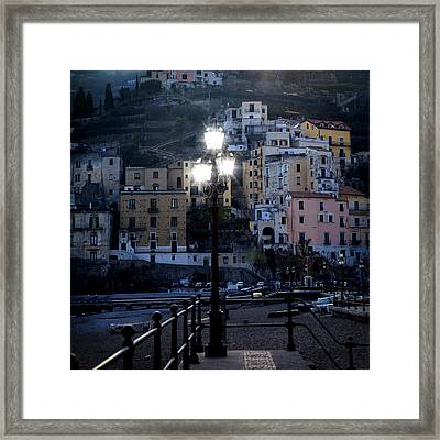 Italian Village In The Evening Framed Print