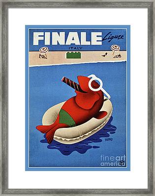 Italian Vintage Travel Finale Fish Framed Print by Aapshop