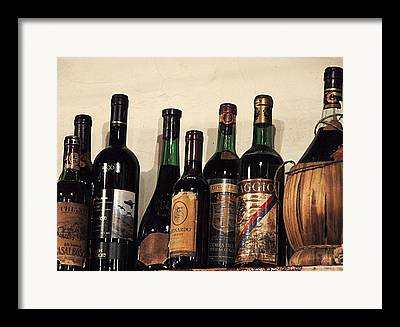 Red Wine On Shelf Framed Prints