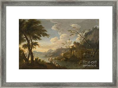 Italianate Landscape With Peasants Resting In The Foreground Framed Print