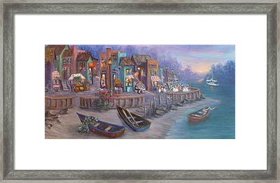 Italy Tuscan Decor Painting Seascape Village By The Sea Framed Print