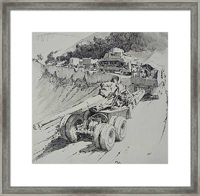 Framed Print featuring the drawing Italy 1943. by Mike Jeffries