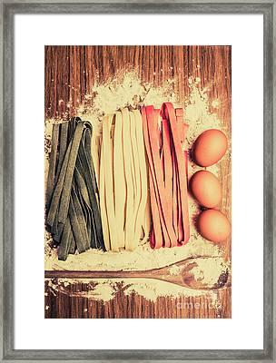 Italy Flag Made In Retro Toned Pasta Framed Print