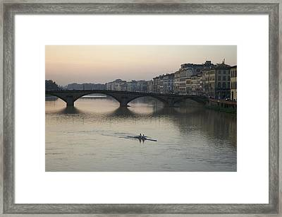Italy, Florence, Arno River And Rowers Framed Print