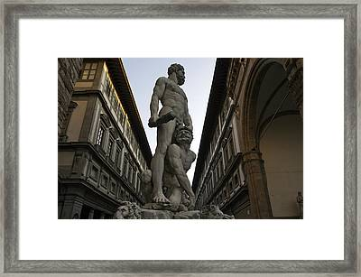 Italy, Florence, Sculpture Of Gercules Framed Print by Sisse Brimberg & Cotton Coulson