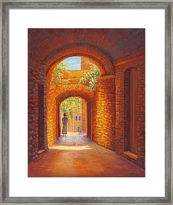 Italy Passages, San Gimignano, Tuscany Framed Print by Elaine Farmer