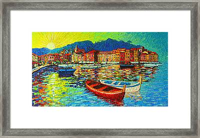 Italy Portofino Harbor Sunrise Modern Impressionist Palette Knife Oil Painting By Ana Maria Edulescu Framed Print