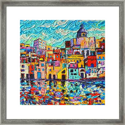 Italy Procida Island Marina Corricella Naples Bay Palette Knife Oil Painting By Ana Maria Edulescu Framed Print