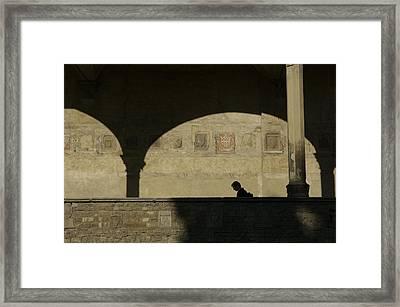 Italy, Tuscany, Florence, A Man Walks Framed Print by Keenpress