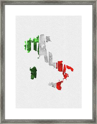 Italy Typographic Map Flag Framed Print