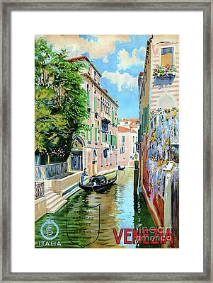 Italy Venice Vintage Travel Poster Restored Framed Print