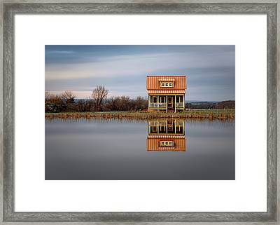 Ithaca Cottage Reflection Framed Print by Steven Michael