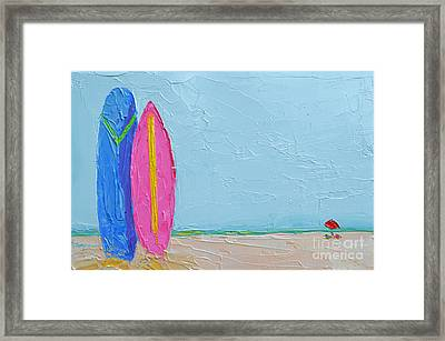 It's A Date - Surf Boards At The Beach - Modern Impressionist Knife Palette Oil Painting Framed Print by Patricia Awapara
