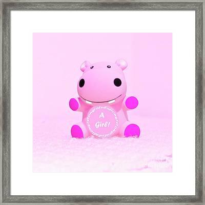It's A Girl Hippo Framed Print