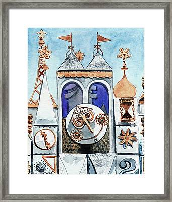 It's A Small World Clocktower Disneyworld Magic Kingdom Disneyland Disney Rides Framed Print