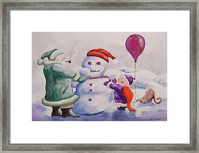 Framed Print featuring the painting It's Cold Grandpa by Geni Gorani