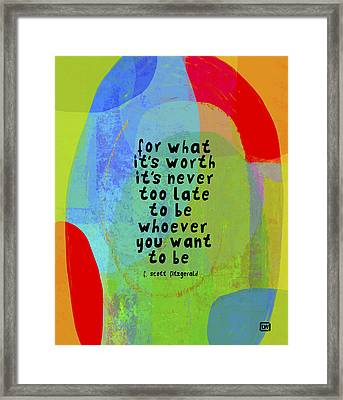 Framed Print featuring the mixed media It's Never Too Late by Lisa Weedn