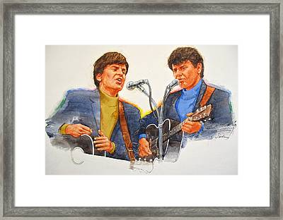 Framed Print featuring the painting Its Rock And Roll 4  - Everly Brothers by Cliff Spohn