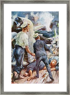 Its Shell Struck The German Cruiser S Framed Print by Vintage Design Pics
