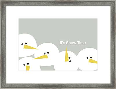 It's Snow Time Snow Heads- Art By Linda Woods Framed Print