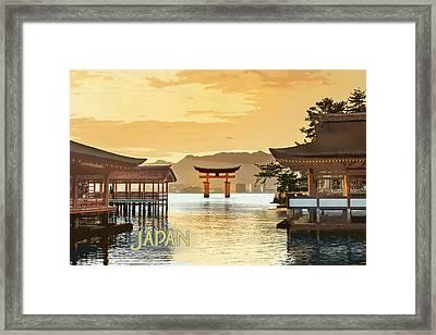 Itsukushima Shrine Miyajima Hiroshima Japan Text Japan Framed Print