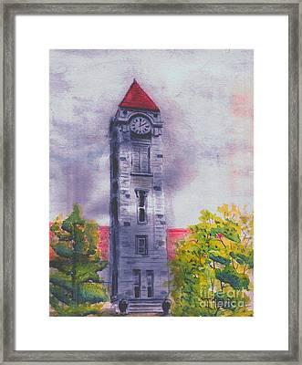 Iu Clock Tower Framed Print by Ted Reeves