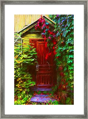 Ivy Surrounded Old Outhouse Framed Print