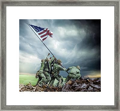 Iwo Jima 2nd Flag Raising Restored Framed Print by Brent Shavnore