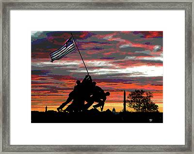 Iwo Jima At Sunset Framed Print by Charles Shoup