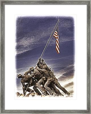 Iwo Jima Flag Raising Framed Print by Dennis Cox
