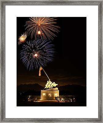 Iwo Jima Flag Raising Framed Print by Michael Peychich