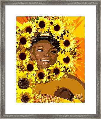 Iyalorde Girasoles Framed Print by Liz Loz