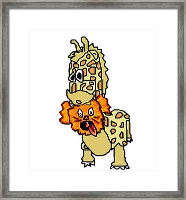 Izzy As Giraffe Framed Print by Jera Sky