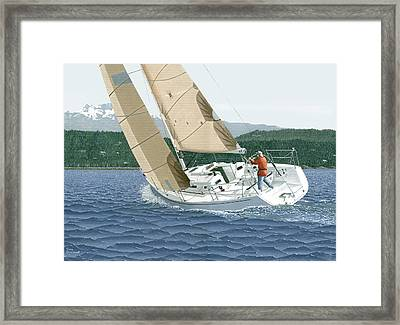 J-109 Sailboat Off Comox B.c. Framed Print by Gary Giacomelli