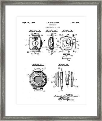 J B Kislinger Watch Patent 1933 Framed Print by Bill Cannon
