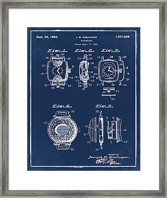 J B Kislinger Watch Patent 1933 Blue Framed Print by Bill Cannon
