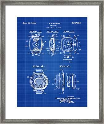 J B Kislinger Watch Patent 1933 Blue Print Framed Print by Bill Cannon