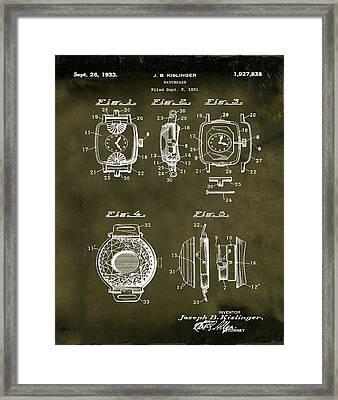 J B Kislinger Watch Patent 1933 Grunge Framed Print by Bill Cannon