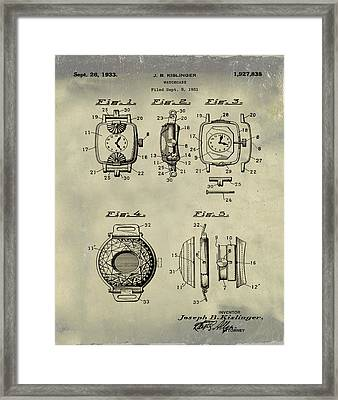 J B Kislinger Watch Patent 1933 Weathered Framed Print by Bill Cannon