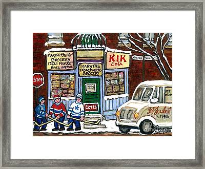 J J Joubert Vintage Milk Truck At Marvin's Grocery Montreal Memories Street Hockey Best Hockey Art Framed Print