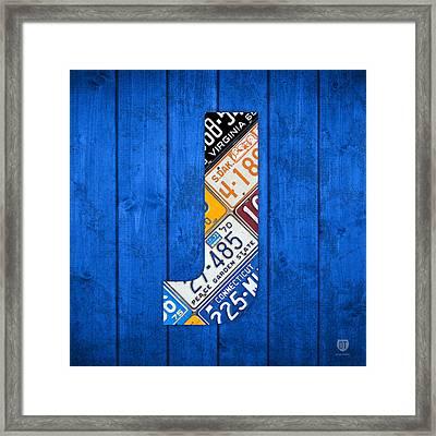 J License Plate Letter Art Blue Background Framed Print