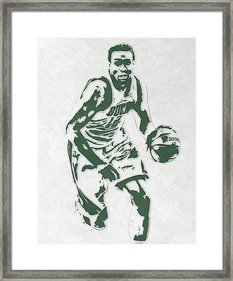 Jabari Parker Milwaukee Bucks Pixel Art 2 Framed Print