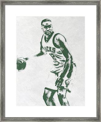 Jabari Parker Milwaukee Bucks Pixel Art Framed Print