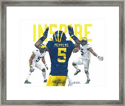 Jabrill Peppers Framed Print by Chris Brown