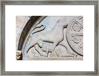 Jaca, Spain. Romanesque Cathedral Tympanum. Framed Print by Ken Welsh