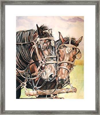 Jack And Joe Hard Workin Horses Framed Print by Toni Grote